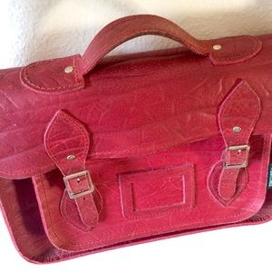 Zatchels Red Leather Satchel made in U.K. 13 inch